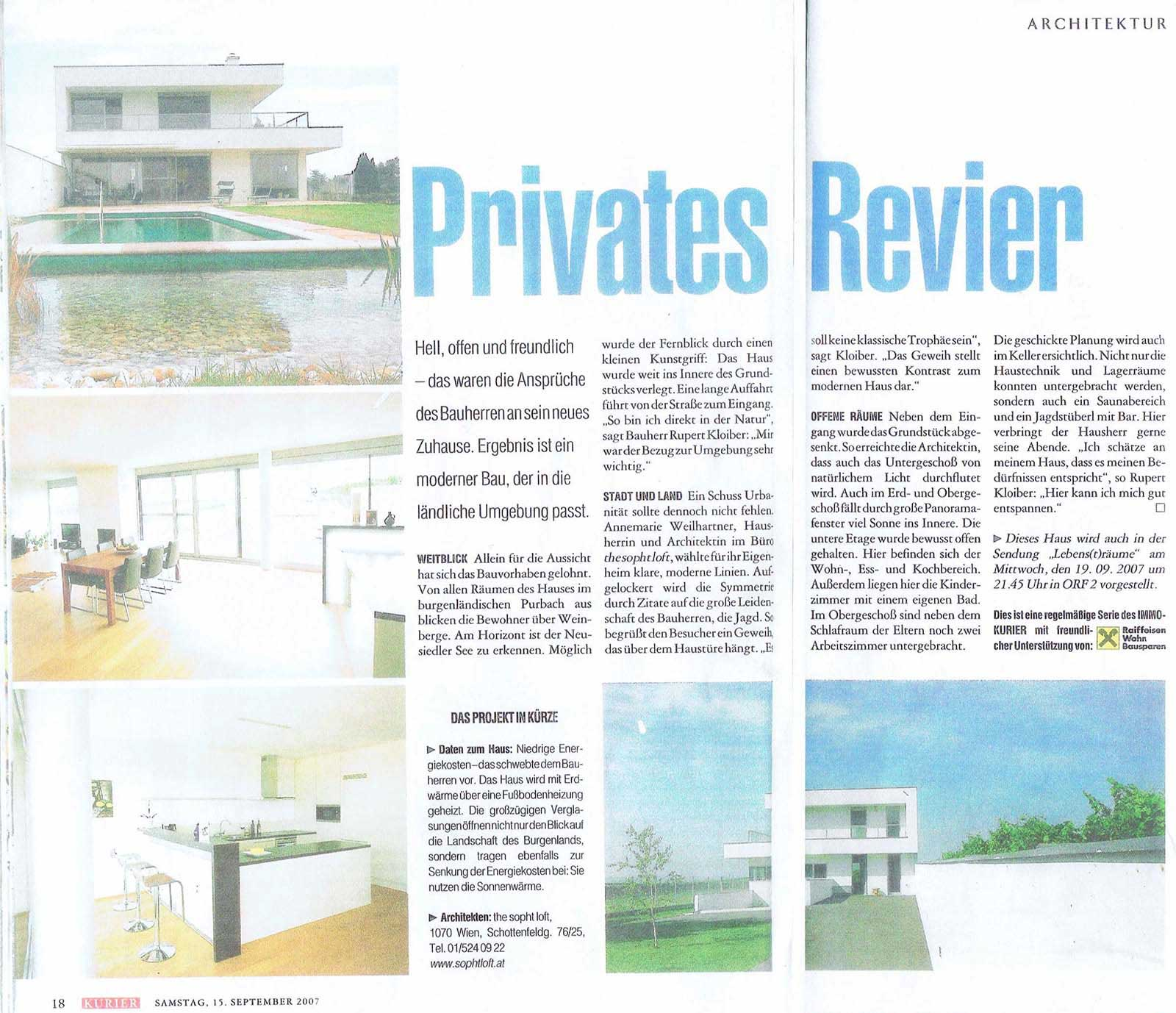 Artikel Privates Revier